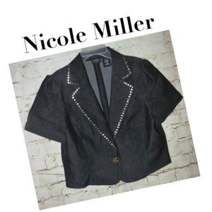 New Cute stretchy cropped embellished denim blazer